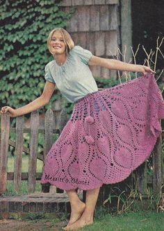 Vintage Crochet Pattern Flirty Romantic Shirt Poncho Combination