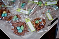 Candy birds' nest favors at a baby shower