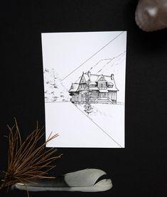 Mountain shelter sketch print Landscape sketch drawing. Great | Etsy    #polskiplakat #morskieoko #tatty #polskamarka #mountanshelter #gothic art #paskudtattoo