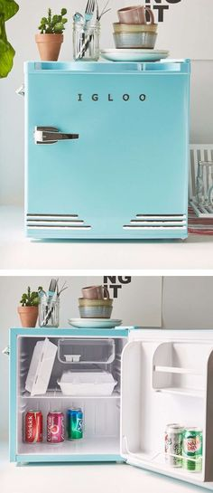 retro-inspired mini fridge