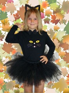 Hallowee Kitty Tutu Costume:Black Cat with Kitty Ears and Tail:Optional Personalization|Kids Cat Costumes