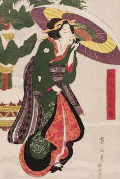 Furyu bijin matsu no uchi. Ukiyo-e woodblock print, about 1840's, Japan, by artist Kikugawa Eizan.