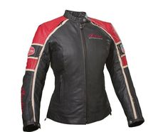 2863306 Ladies Retro Jacket - Black/Red Leather by Indian Motorcycle Motorcycle Riding Jackets, Motorcycle Store, Retro Motorcycle, Riding Gear, Motorcycle Outfit, Motorcycle Rides, Indian Motorcycle Apparel, Vintage Indian Motorcycles, Indian Accessories