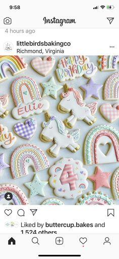 Iced Cookies, Cake Cookies, Sugar Cookies, Biscuits, Rainbow Desserts, Emma Rose, Girl Themes, Instagram 4, Birthday Cookies