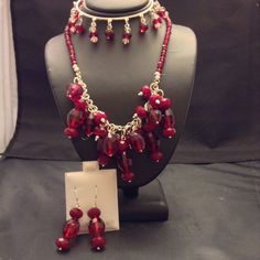 3 piece red Swarovski sterling silver set by LisaWiedebushJewelry on Etsy