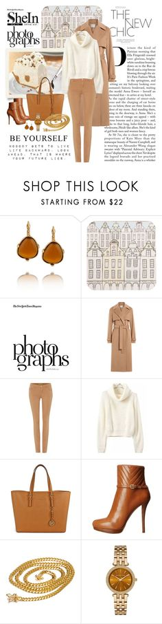 """""""SheIn(sheinside) Turtleneck Crop Beige Sweater"""" by dezaval ❤ liked on Polyvore featuring Kenneth Jay Lane, Rosa & Clara Designs, Valentino, Jason Wu, Versace, Michael Kors, MICHAEL Michael Kors and Sevil Designs"""