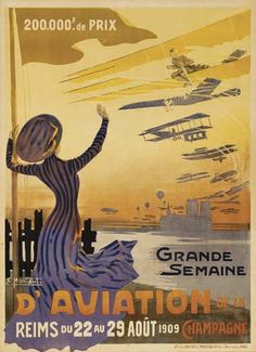 Grande semaine d'aviation de Reims - Champagne - 1909 - illustration de Ernest Montaut - France -