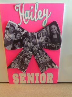 Cheer sign for senior cheerleader night. Use plain copy paper to print photos, mod podge them on poster board. Then use cricut for lettering Cheerleading Spirit Gifts, Cheerleading Signs, Senior Cheerleader, Cheer Team Gifts, Cheer Spirit, Cheer Camp, Football Cheer, Cheer Coaches, Cheer Dance