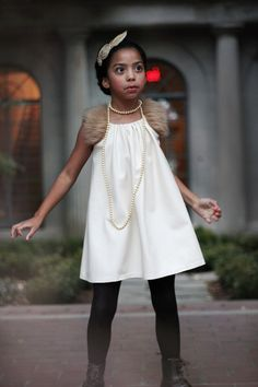 Girls Ivory CELIA Leather Fur Shift Dress sz 5/6Y  by lillagrey, $210.00