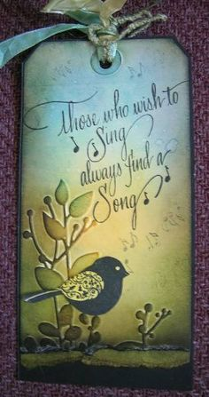day folder -a song to sing by !aah - Cards and Paper Crafts at Splitcoaststampers Card Tags, Gift Tags, Kim Campbell, Music Journal, Bee Cards, Affirmation Cards, Congratulations Card, Artist Trading Cards, Bird Design