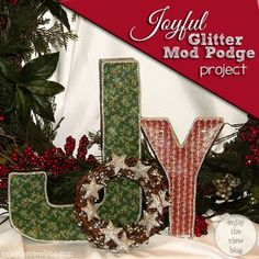 Joyful Glitter Mod Podge Holiday Project | enjoytheviewblog.com #ad #ModPodgeHoliday #diy #holidaycrafts #crafts