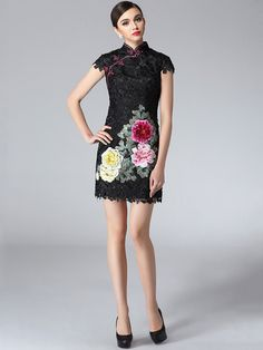 Short Lace Qipao / Cheongsam Dress with Floral Embroidery