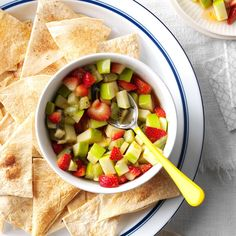 Serve this treat as an appetizer or a snack for potlucks, sleepovers, parties or whatever! It's sweet enough to be a dessert, plus: it's easy to transport. | Apple Salsa with Cinnamon Chips Recipe from Taste of Home