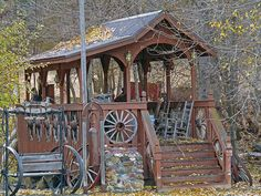 Covered Bridge. I don't know where this is, does anyone know? I love the old wagon wheels on the outside.