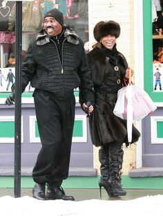 Marjorie Bridges and Steve Harvey Act Like A Lady, Fashion Games, Black Hollywood, Business Women, Warm Winter Hats, Steve, How To Look Classy, Marjorie Harvey, Cute Couples