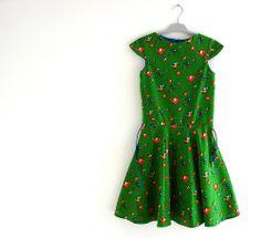 Stof retro birds green MiesenMoos   jurk anna by sofie duron 'elisanna'