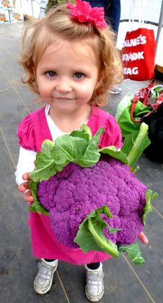 sweet little gardener holding a purple cauliflower Purple Cauliflower, Velvet T Shirt, Make Me Smile, Little Ones, Gardens, Vegetables, Children, Sweet, People
