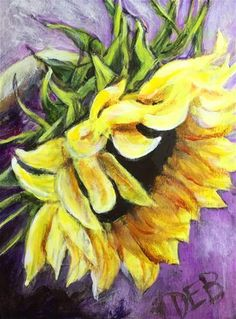"Daily Paintworks - ""Humble Sunflower"" - Original Fine Art for Sale - © Debbie Yacenda"