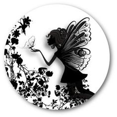 3D Floral Butterfly & Fairy Elf Silhouette Artwork - Round Bottle Cap Pendant Cabochon 1 inch Round Circle image Digital Collage Sheet op Etsy, 2,96€