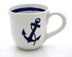 Anchor Nautical Navy Blue and White Large Mug by LennyMud on Etsy Navy Life, Navy Mom, Coastal Living, Coastal Decor, Nautical Home, Nautical Style, Nautical Anchor, Nautical Dishes, Nautical Party