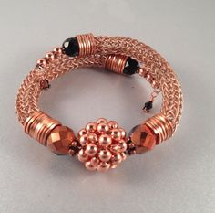 Copper and Black Viking Knit Bracelet with Hand by Suzjewelry, $34.00
