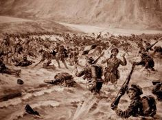 "Gallipoli: 25th of April 1915, 'W' Beach, Cape Helles. Helles is Greece in Greek, in English it looks like Hell. The1st Battalion Lancashire Fusiliers storms the beach under withering fire. 6 VCs were won; of the first 200 men who landed only 21 survived. The action was referred to as ""6 VC's before breakfast'. Well, I guess you had to laugh, didn't you?."