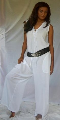 WHITE JUMPSUIT LACING POCKETS LAGENLOOK -- If it's gonna be hot...then look hot in this jumpsuit!  love this easy piece for a beachin' night out!