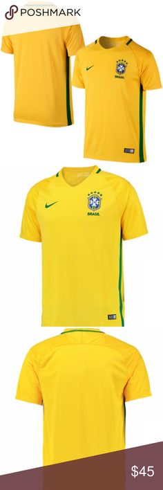 """Nike Brazil CBF 2016 Stadium Men's Soccer Jersey The new home jersey of the most decorated nation in soccer, Brazil. """"Canarihno"""" yellow with green piping. Tributes to Brazil's national pride are on both the interior and exterior of the shirt. The jersey is composed of 100% recycled Dri-Fit polyester and has breathable mesh fabric that delivers optimal ventilation. Embroidered team badge with championship stars. Brasil is under the crest and is also knit into the back collar.   100% Dri-FIT…"""
