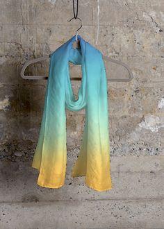 Deco casmere/silk scarf - Cashmere Silk Scarf by Michele Fulmer Vida Design, My Design, Cashmere Scarf, Silk Scarves, Textile Design, Pink White, Yellow, Original Artwork, Light Blue