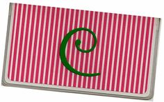 Personalized Checkbook Cover  Pink Stripes  by rabbitholeonline, $6.96