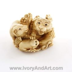 Mammoth Ivory Netsuke - 12 Zodiac animals - Big Tiger