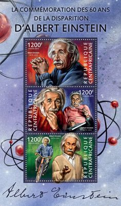 Post stamp Central African Republic CA 15109 a60th memorial anniversary of Albert Einstein (1879–1955)