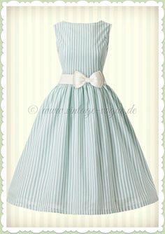 7f76994d3e2b25 Lindy Bop 50er Jahre Retro Petticoat Streifen Kleid - Audrey - Mint Grün