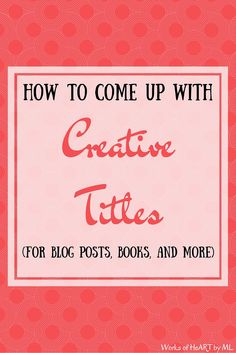 Titles for creative writing