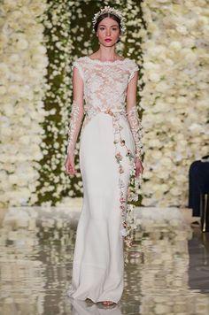 Simple elegant lace wedding dress by Reem Acra, Fall 2015