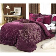 @Overstock.com.com - Lakhani 8-piece Plum Comforter Set - Slumber in style when you snuggle into this faux-silk purple bedding set. Accented with gold hues and a rose motif, this eight-piece comforter set includes two shams, four accent pillows of various sizes, a bed skirt, and a luxurious comforter. http://www.overstock.com/Bedding-Bath/Lakhani-8-piece-Plum-Comforter-Set/7277346/product.html?CID=214117 $109.99