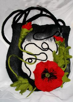 """Felted Bag """"Poppies"""",hand crafted"""