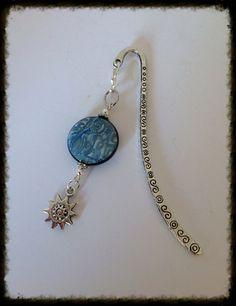 Marque-page perle lentille en Fimo Sérénité , métal argenté. Idée cadeau pour la maîtresse. : Marque-pages par grenadine-co