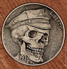 Hand engraving Art by master-engraver Aleksey Saburov. Pirate Coins, Engraving Art, Hobo Nickel, Coin Art, Skulls And Roses, Coin Collecting, Native American Art, Skull Art, Cool Items