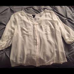 White chiffon top White see through top. 3/4 quarter sleeve. Very flowy. Torrid size 1=XL 14/16 torrid Tops Blouses