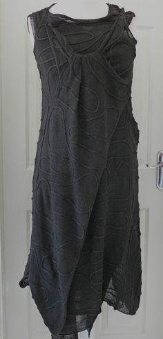 gorgeous ZUZA BART 100% linen quirky dress size small/medium black | eBay
