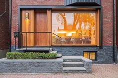 Downtown modern infill residential home entrance