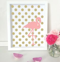 Flamingo art print - pink gold home decor - gold spot wall art by PaperInkPrints on Etsy https://www.etsy.com/listing/200103910/flamingo-art-print-pink-gold-home-decor