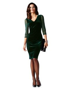 Gorgeous Green Velvet Dress, with Sexy Sheer Sleeves makes this Madeline Winter 2015 Dress mt pick for Best Dress for Christmas 2015. Your all set for a Holiday Party, Dinner w Friends. What a Look!