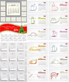 #2013 #calendars with #cats #vector