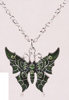 Green crystal wicked butterfly necklace pendant