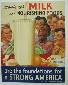 """1950's Vintage Dairy Milk Poster, showing Asian and an African-American children, """"quite an unusual occurrence in American advertising of the period after WW2."""""""