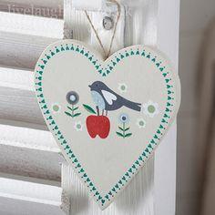 Summer Garden Wooden Hanging Heart - Bird & Apple