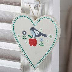 Summer Garden Wooden Hanging Heart - Bird & Apple