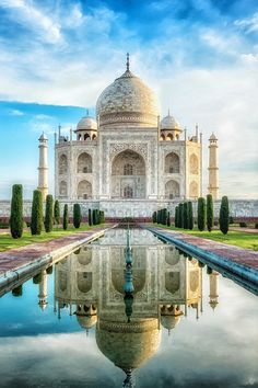The Taj Mahal in India - one of the Seven Wonders of the Modern World.  In 1632 Shah Jahan, the fifth Mogul Emperor of India, began building the Taj Mahal as a monument to his wife and constant companion, Mumtaz Mahal, who had died in childbirth. The Taj Mahal took 22 years to complete and today stands as a true testimony of love and friendship between man and woman.